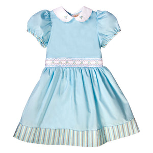 Tamara Turquoise English Smocked Baby Dress w/Cap Sleeves 19F 6646 D