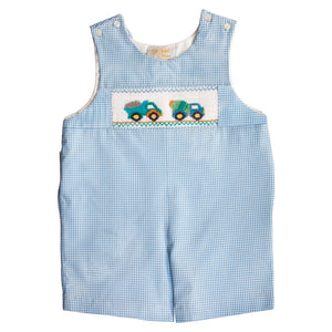 Construction Trucks Blue Gingham Smocked Romper 20SP 6652 R