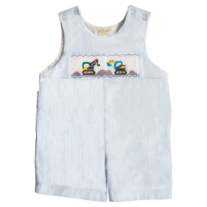 Heavy Equipment Blue Striped Seersucker Smocked Romper 20SP 6653 R