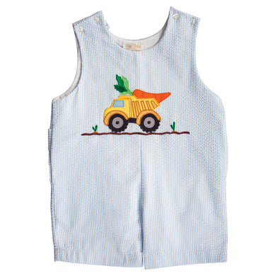 Carrot Truck Applique Blue Striped Seersucker Romper 20SP 6654 R