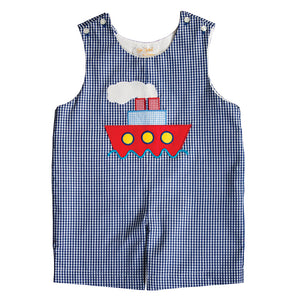 Boat Applique R.Blue Gingham Romper 20SU 6655 R