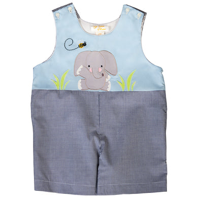 Let's Bee Friends Elephant Applique Blue/Navy Gingham Romper 20SU 6656 R
