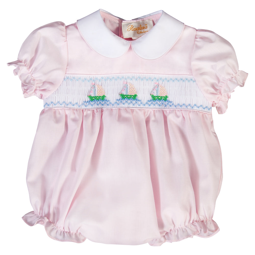 Sailboats Lt. Pink Smocked Girl Bubble 20SU 6681 BUG