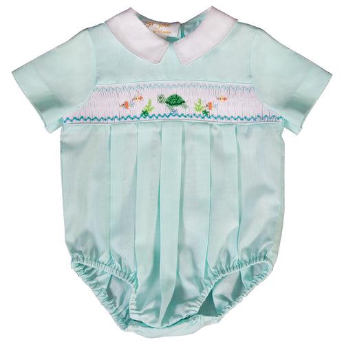 Turtle & Friends Lt. Turquoise Smocked Boy Bubble 20SU 6684 BUB