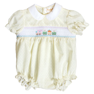 Bunny Train Lt. Yellow Dotted Smocked Girl Bubble 20SP 6685 BUG