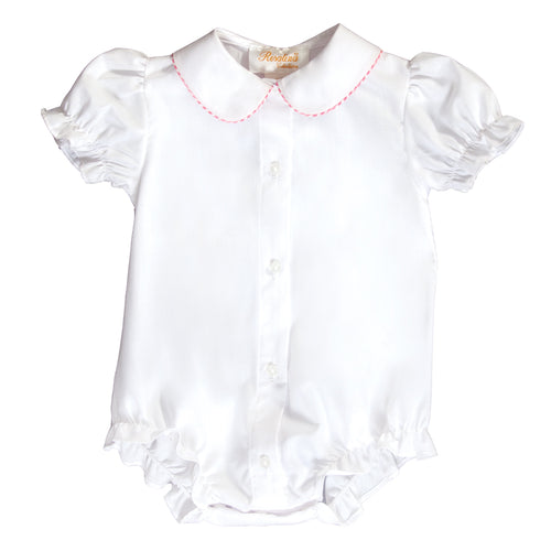 White w/Pink Gingham Trim Girl Bubble 20SP 6705 BUG