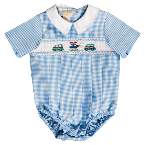 Helicopter & Cars Blue Gingham Smocked Boy Bubble 20SU 6707 BUB