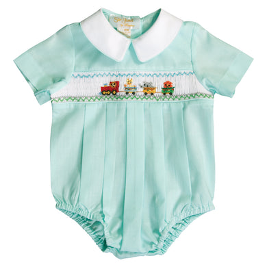 Baby Animal Train Smocked Lt. Turquoise Boy Bubble 20SU 6732 BUB