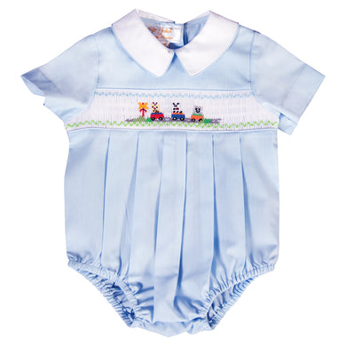 Baby Animal Train Crossing Lt. Blue Smocked Boy Bubble 20SU 6733 BUB