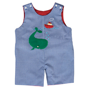 Green Whale Applique Royal Blue Gingham Reversible Romper 20SU 6747 R