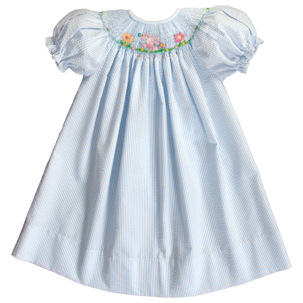 Sunflowers Bunny Blue Striped Seersucker Smocked Bishop 20SP 6749 A