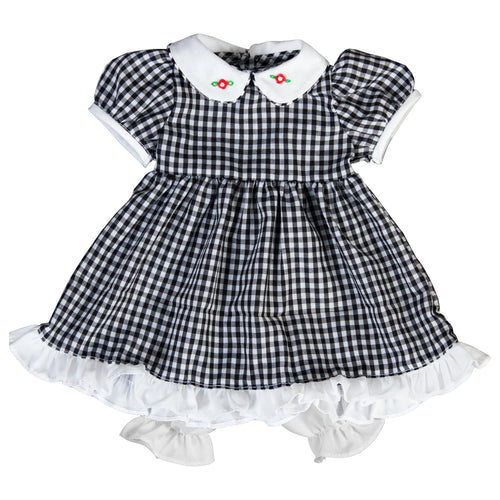 Black Gingham Doll Dress with Collar 6751 DD
