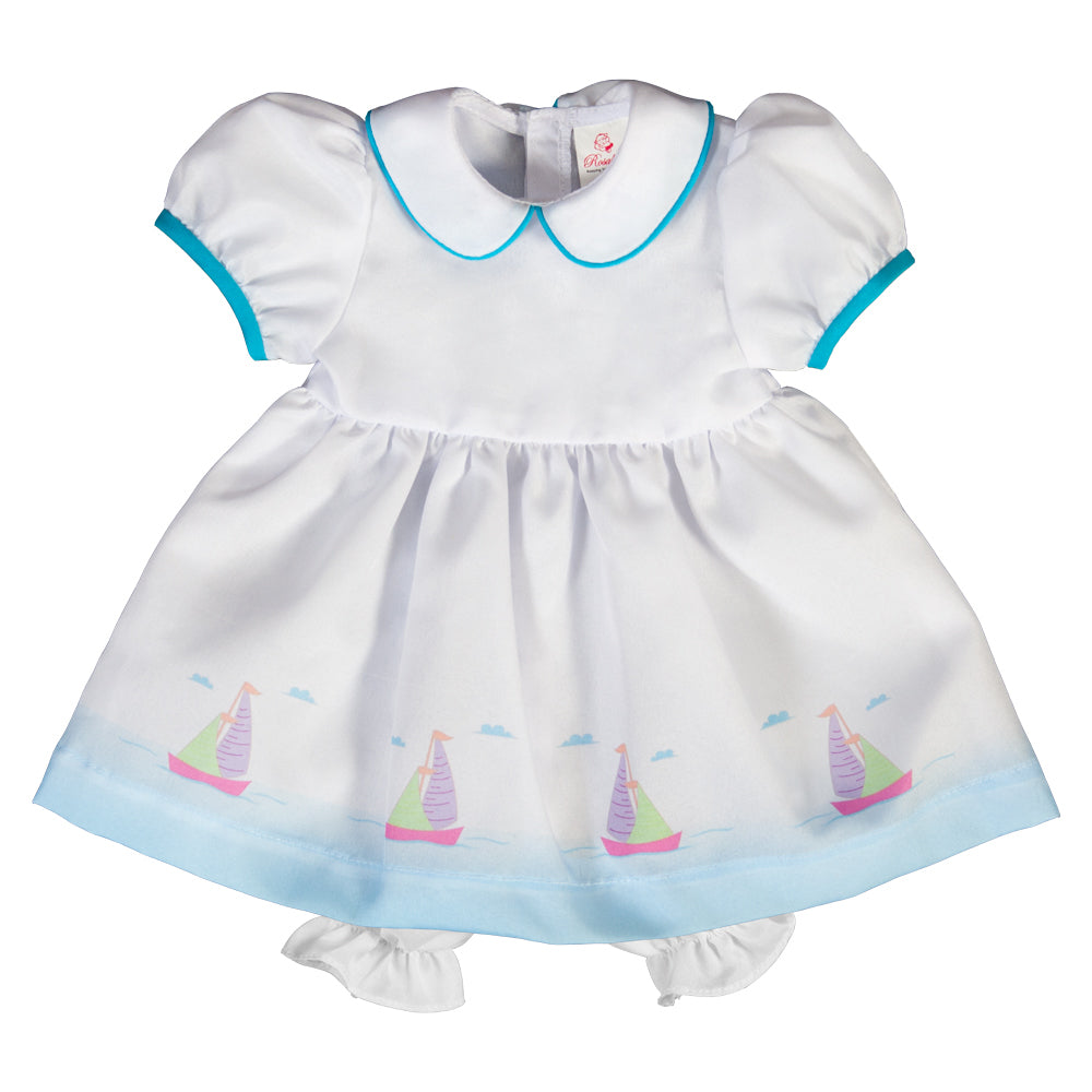 White Blue Sailboat Print Doll Dress 6755 DD