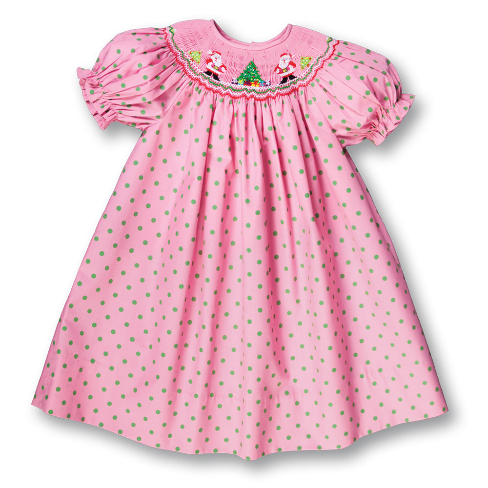Santa Twins Med. Pink w/Green Dots Smocked Bishop 17H 7001 A