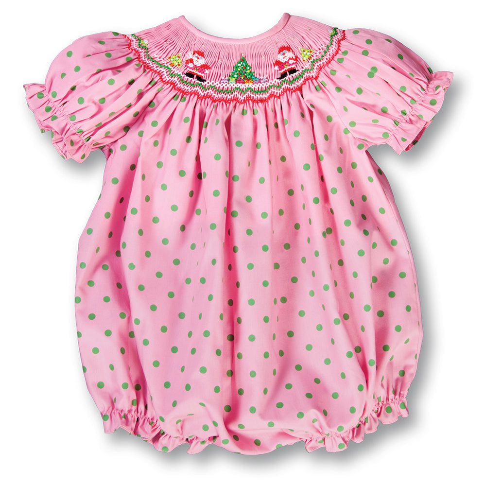 Santa Twins Med. Pink w/Green Dots Smocked Girl Bubble 17H 7001 BUG