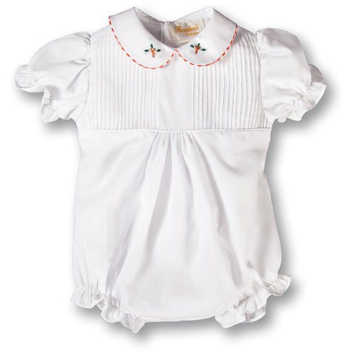 White Pintuck Girl Bubble w/Orange Gingham Trim Embroidered Collar 17F 7014 BUG