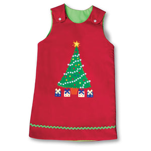 Christmas Tree Red Reversible Aline w/RicRac 17H 7017 C