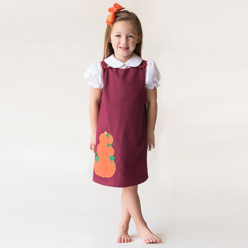 Pumpkin Stack Maroon Black Tiny Gingham Reversible Aline 17F 7018 C