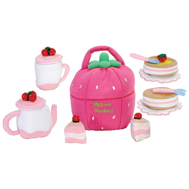 Soft Strawberry Bag w/Tea Set & Cakes 7114