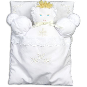 Pink Bunting Doll with Cross Design Embroidery 7190 WHT