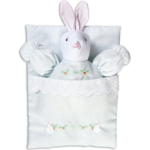 Lt. Blue Embroidered Bunting Bunny Doll 7494 BL