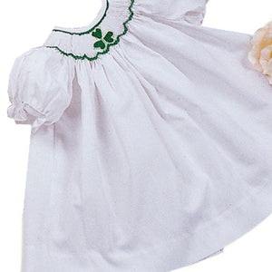"White Shamrock Smocked Doll Bishop 12"" 835 -DD"