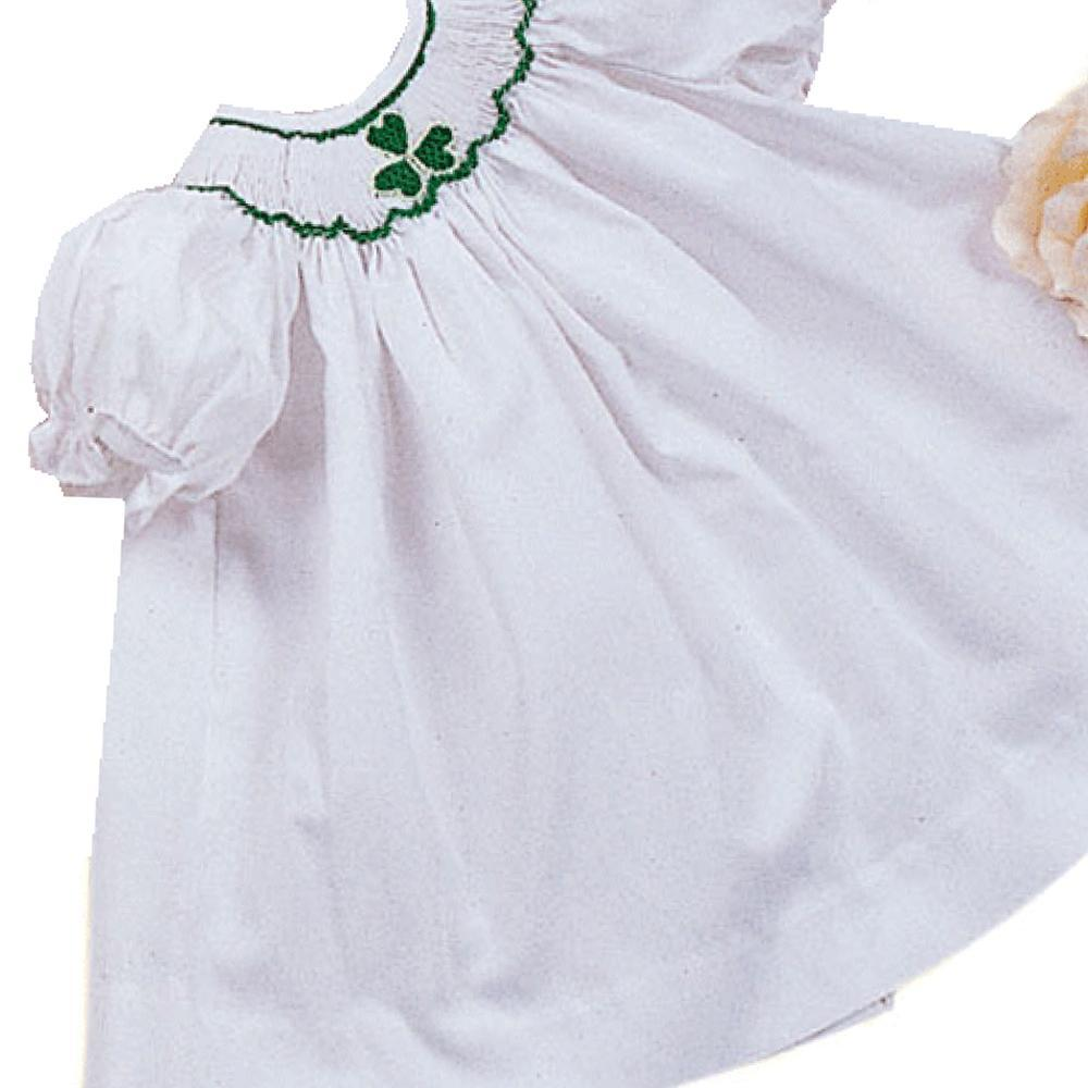 White Shamrock Smocked Doll Bishop 12
