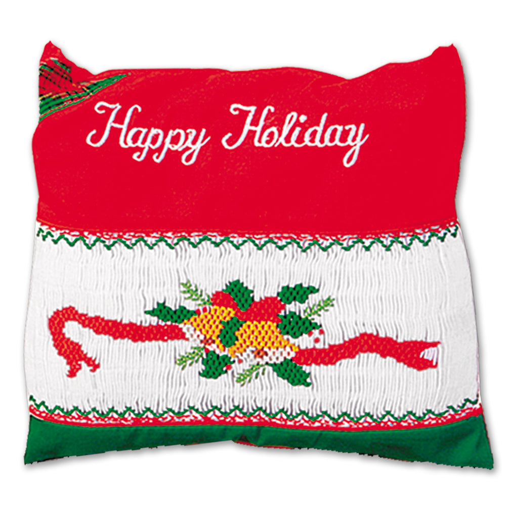 Happy Holiday Smocked Mini Pillow 856