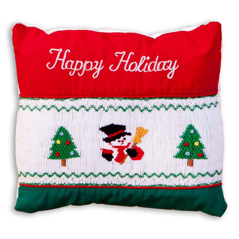 Snowman Happy Holiday Smocked Mini Pillow 864