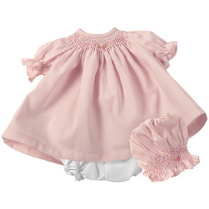 Pink Roselle Smocked Doll Dress w/opt Bonnet