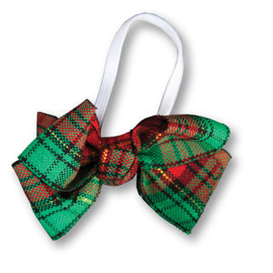 Red Green Plaid Doll Hairbow 17H DHB 289