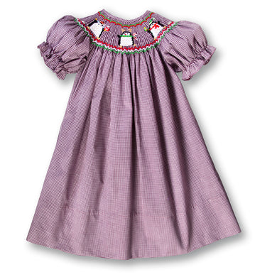 Holiday Penguins Berry Gingham Smocked Bishop FO 3765