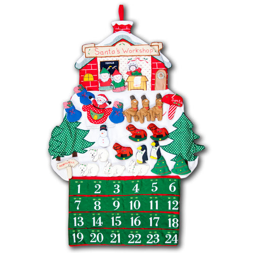 Santa's Workshop Advent Calendar Wall Hanging FO6275