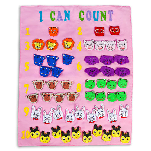 I Can Count Finger Puppets Pink Wall Hanging SSC FO7419 PK