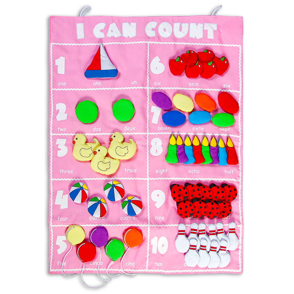 I Can Count Pink Trilingual Wall Hanging FO7491 PK