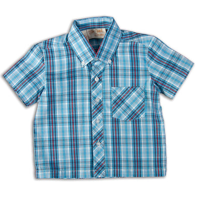 Blue Grey Red Plaid Short Sleeve Polo Shirt DAYR J-003