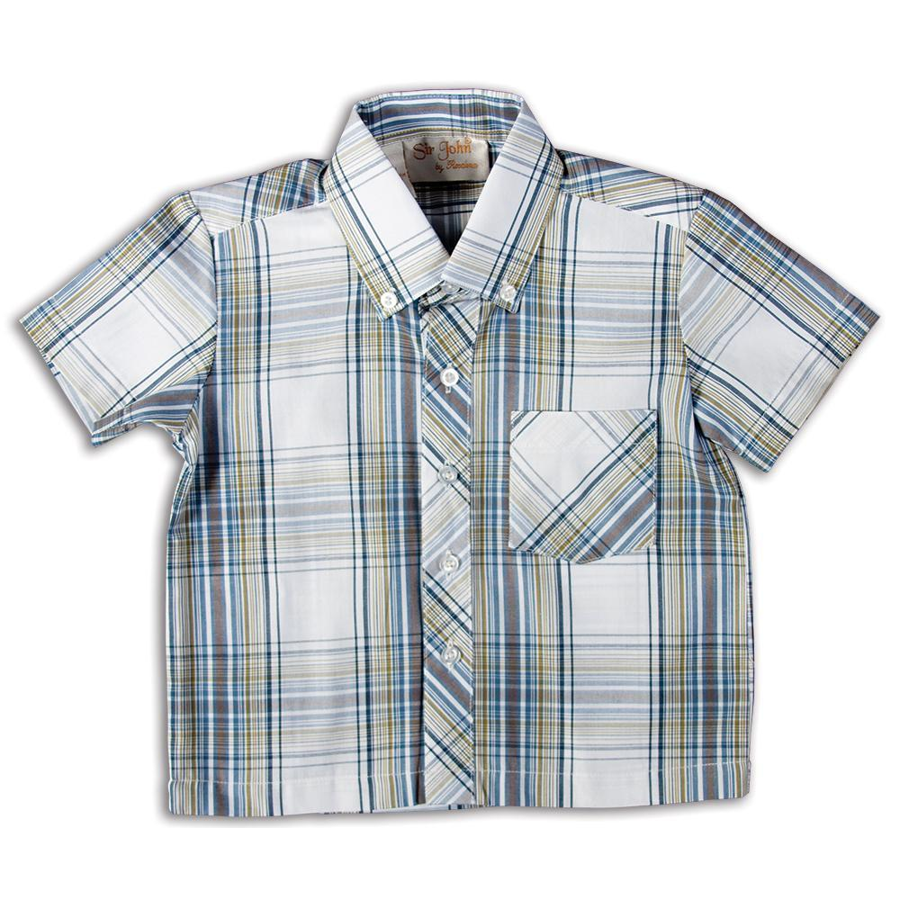 Dk. Blue Green White Plaid Short Sleeve Polo Shirt DAYR J-004