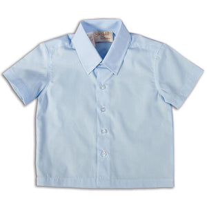 Solid Blue Short Sleeve Polo Pin Point Shirt DAYR J-005A