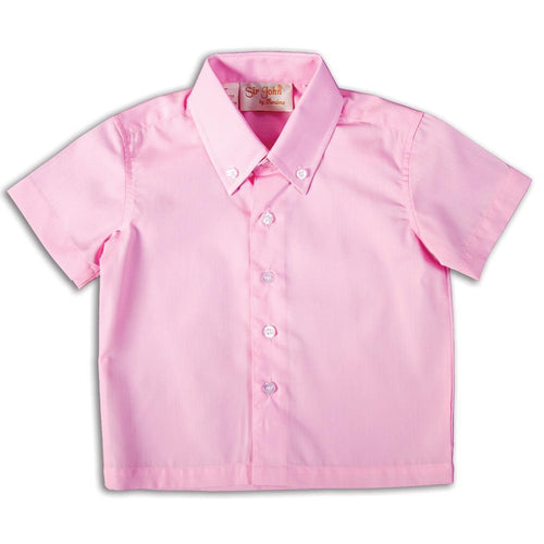 Solid Pink Short Sleeve Polo Shirt DAYR J-006