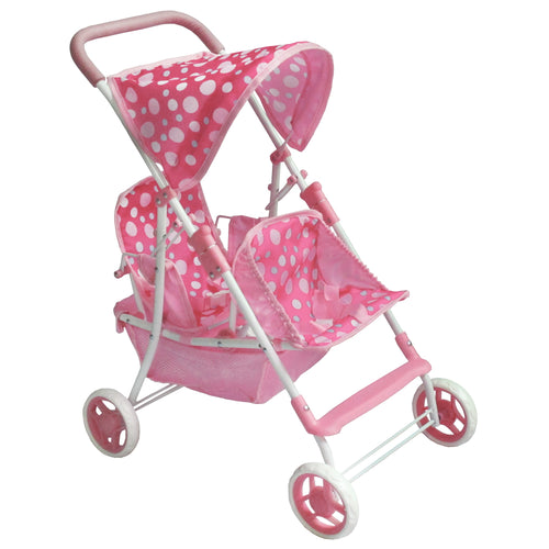 Pink Polka Dot Double DOLL Stroller MG9618