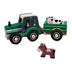 Wooden Tractor Trailer w/Animals TL24083