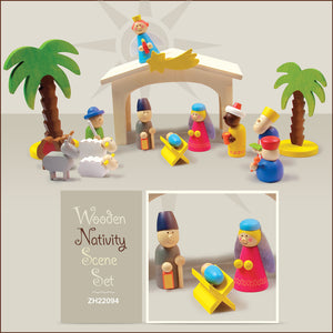 Wooden Colored Nativity Play Set ZH22094