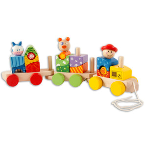 Wooden Animal Block Train