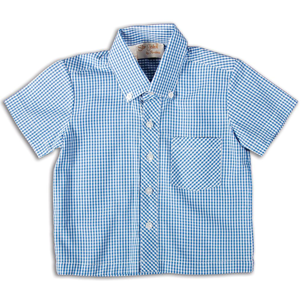 Royal Blue Gingham Short Sleeve Polo Shirt DAYR J-001