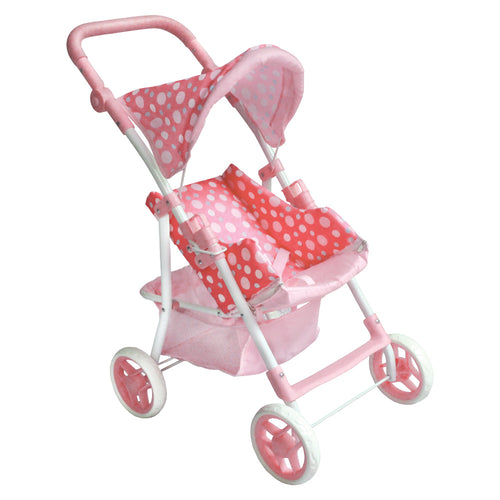 Pink Polka Dot Single Doll Stroller MG9337