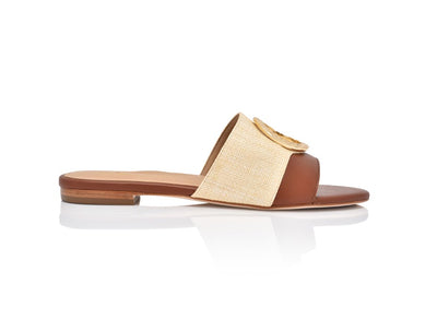 Margo Natural Gloss Raffia and Tan Leather