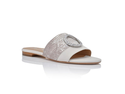 Margo Silver Metallic Lizard with Soft White Leather