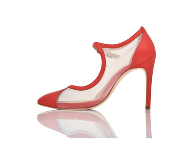Rebecca Red Hot Lux Nappa/Clear Mesh