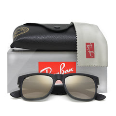 Ray-Ban JUSTIN 4165 NEW! UNISEX - BLACK - GOLD MIRROR 622-5A-51