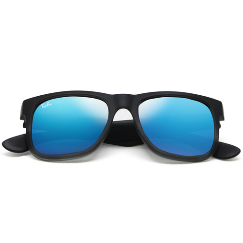 Ray-Ban JUSTIN 4165 CLASSIC UNISEX - BLACK - BLUE MIRROR 622-55-51